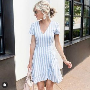 J. Crew Blue and White Striped Dress Size 12